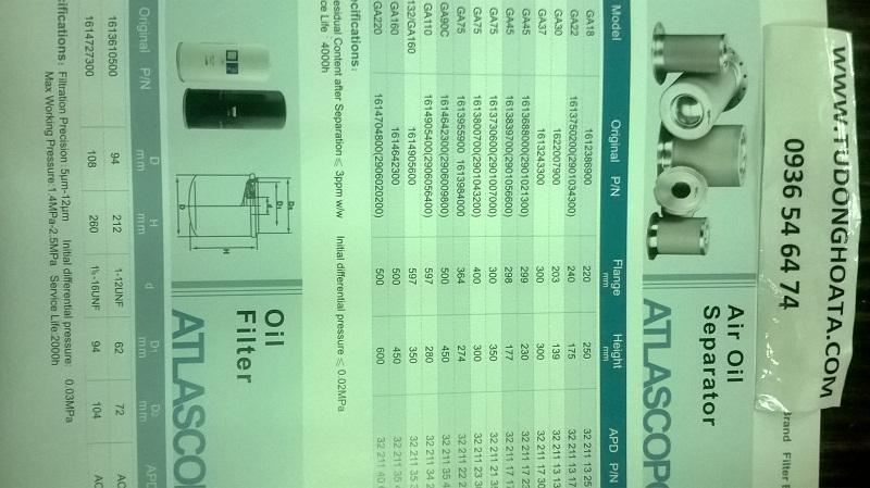 lọc dầu, tách dầu máy nén khí atlascopco
