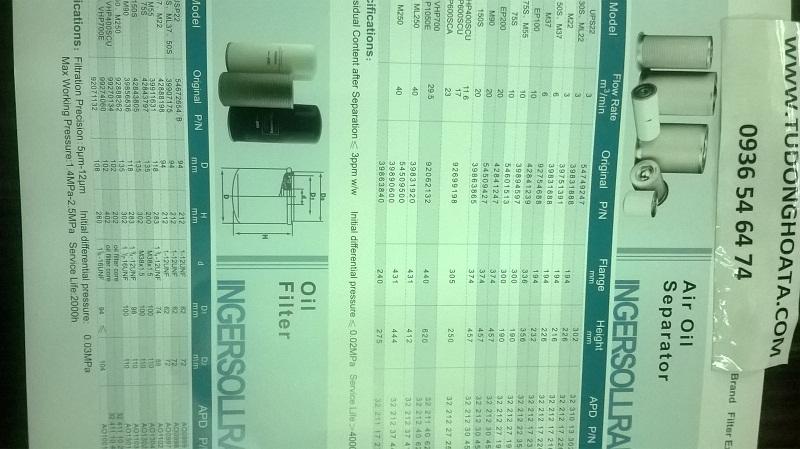 lọc dầu, lọc tách dầu máy nén khí trục vít INGERSOLLRAND